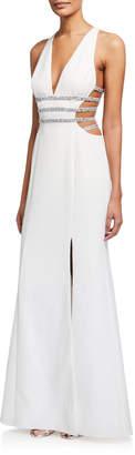 Aidan Mattox Sparkle Cutout Crepe Gown