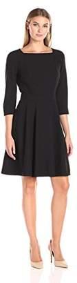 Lark & Ro Amazon Brand Women's Three Quarter Sleeve Flare Dress
