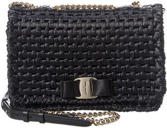 Salvatore Ferragamo Vara Rainbow Raffia & Leather Shoulder Bag