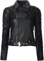 Philipp Plein embellished biker jacket - women - Acetate/Lamb Skin - M