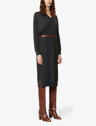 Brunello Cucinelli Belted wool and cashmere-blend midi dress