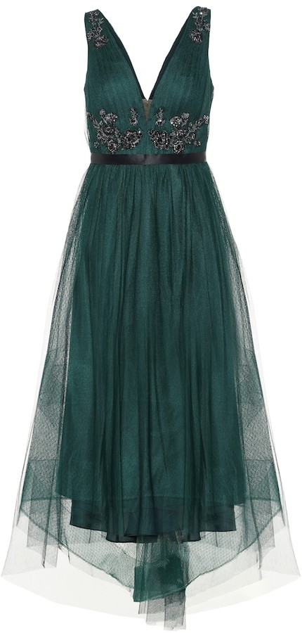 Marchesa Notte Sleeveless beaded tulle gown