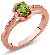 Gem Stone King 0.51 Ct Oval Green Peridot White Diamond 14K Rose Gold Ring