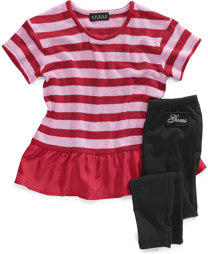 GUESS Set, Little Girls Stripe Peplum Top and Leggings