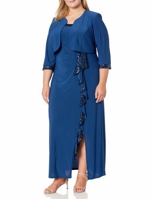 R & M Richards R&M Richards Women's Plus Size Womans Cascade Sequins Jacket Dress