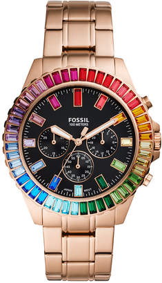 Fossil Men Chronograph Garrett Rose Gold-Tone Stainless Steel Bracelet Watch 44mm - Limited Edition