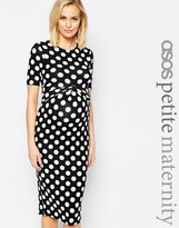 Asos PETITE Bodycon Dress In Spot With Cross Front