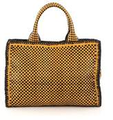 Prada Pre-owned: Madras Convertible Open Tote Woven Leather Small.