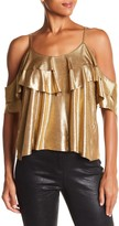 Angie Metallic Cold Shoulder Ruffle Blouse