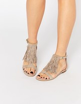 KENDALL + KYLIE Kendall & Kylie Tessa Suede Nude Fringe Flat Sandals