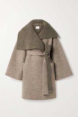 LAUREN MANOOGIAN + Net Sustain Belted Knitted Coat - Mushroom