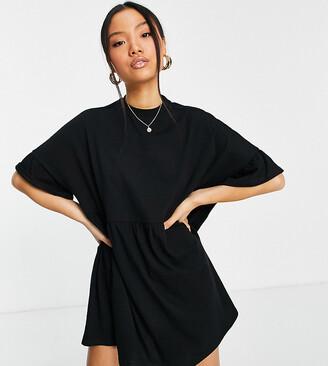 ASOS DESIGN Petite super oversized frill sleeve smock dress in black