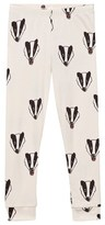 Mini Rodini Off-White Badger Print Leggings