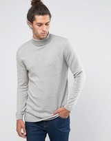 Asos Longline Roll Neck Sweater in Gray Marl Cotton