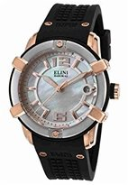 Elini Barokas Women's 'Spirit' Swiss Quartz Stainless Steel and Silicone Watch, Color:Black (Model: 20005-RG-02-SRB)