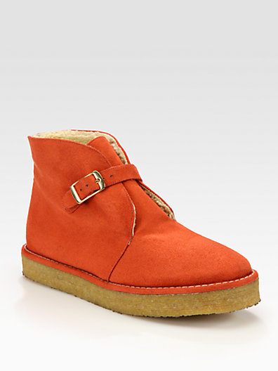 Stella McCartney Faux Suede Buckle Platform Ankle Boots