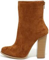 Life's Luxuries Tan Suede Mid-Calf High Heel Boots