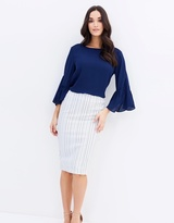 Forcast Christina Striped Pencil Skirt