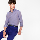 Paul Smith Men's Tailored-Fit Mauve Gingham Check Cotton Shirt With Contrast Cuff Lining