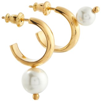 Simone Rocha Gold-plated hoop earrings with faux pearls