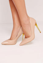 Missguided Nude Patent Transparent Heel Pumps