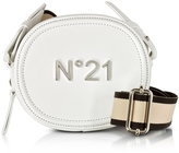 N°21 White Leather Oval Crossbody Bag w/Canvas Shoulder Strap