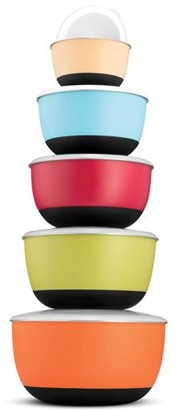 Shopokus Multicolor Mixing Bowls - Premium 5 Piece Set With Sealed lids, Nesting Storage Bowls, Plastic Exterior, Non-Skid Bottom for Easy Mixing and Prepping, Includes , 1 , 2 ?, 3, and 5 Qt