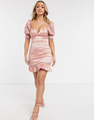 Rare London puff sleeve mini dress with peplum hem in pink
