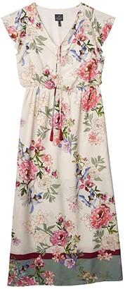 Adrianna Papell Floral Border Print Maxi Dress (Ivory Multi) Women's Dress