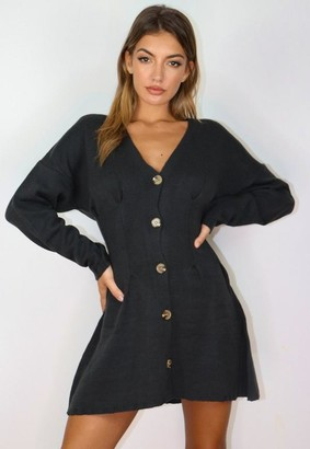 Missguided Cinched Waist Knitted Cardigan Dress