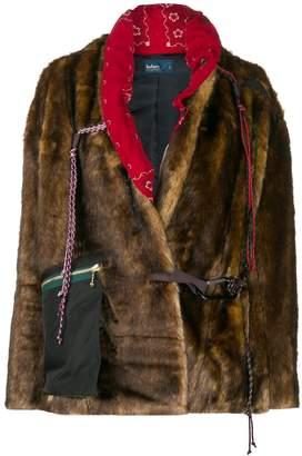 Kolor climbing-harness faux-fur jacket