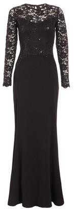Dorothy Perkins Womens Quiz Black Sequin Long Sleeve Maxi Dress, Black