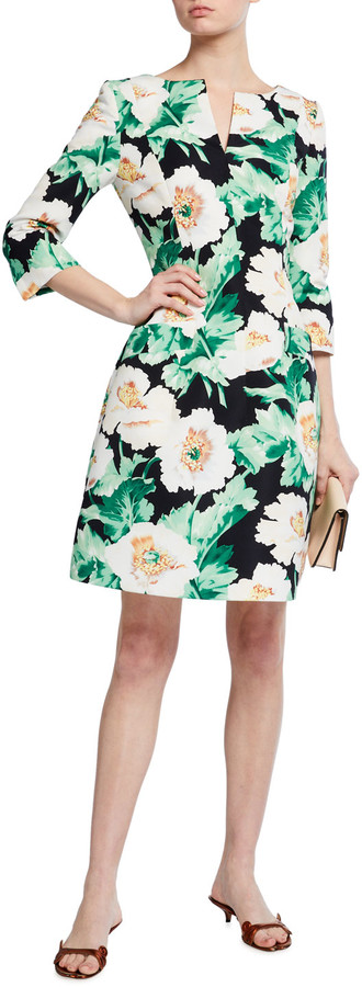 Oscar de la Renta 3/4-Sleeve Floral Dress