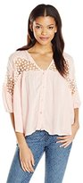 Angie Juniors' Coral Inset Top with Buttons