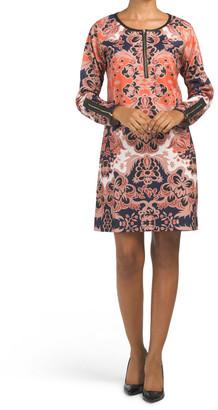 Long Sleeve Printed Ponte Penelope Dress