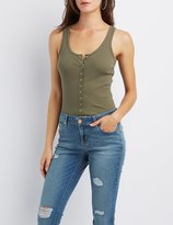 Charlotte Russe Ribbed Snap-Front Bodysuit