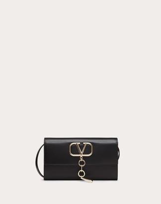 Valentino Vcase Glossy Calfskin Clutch Women Black 100% Pelle Di Vitello - Bos Taurus OneSize