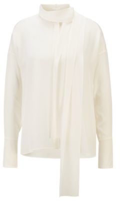 HUGO BOSS Relaxed Fit Blouse In Washed Silk With Tie Neck - White
