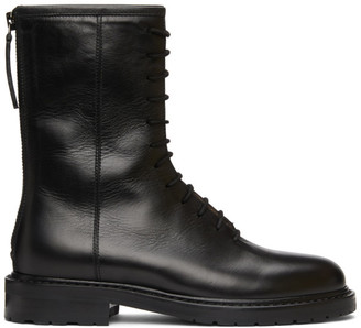 LEGRES Black Leather Combat Boots