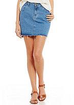 Roxy Take This Chance High Rise Frayed Hem Denim Skirt
