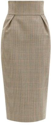 Alexandre Vauthier High-rise Houndstooth Wool-tweed Pencil Skirt - Grey Multi