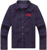 Richie House Girls' Polka Dot Shirt with Contrasting Bow RH1099-6/7