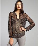 Joie black, brown, and ivory leopard print silk chiffon 'Adana' high-low blouse