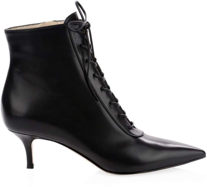 0c5a3491386 Leather Lace-Up Kitten Heel Booties