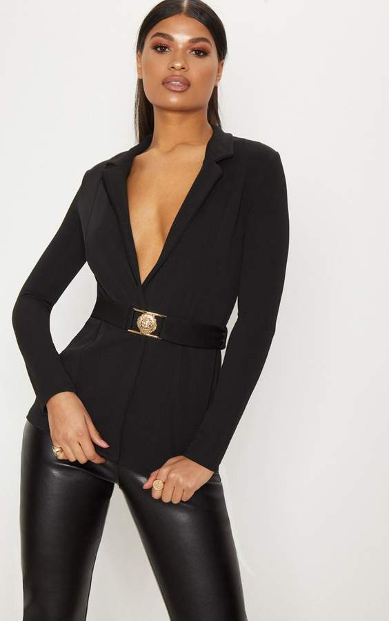 PrettyLittleThing Black Lion Head Belt Blazer