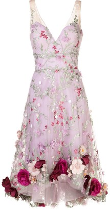 Marchesa Floral-Applique Embroidered Sleeveless Dress