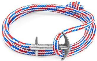 Anchor & Crew Project Rwb Red White & Blue Admiral Anchor Silver & Rope Bracelet