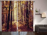 Dining Room Curtains Nature Landscapes Decor by Ambesonne, Misty Weather and Mysterious Forest Print, Window Treatments, Living Kids Girls Room Curtain 2 Panels Set, 108 X 84 Inches, Olive Brown Ecru