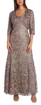 R & M Richards Embellished Soutache Gown & Bolero Jacket