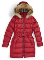 Burberry Girl's 'Catherine' Genuine Golden Fox Fur Trim Goose Down Puffer Jacket